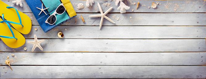 istock Beach Accessories On Vintage Wooden Plank - Retro Summer Holiday 540853918