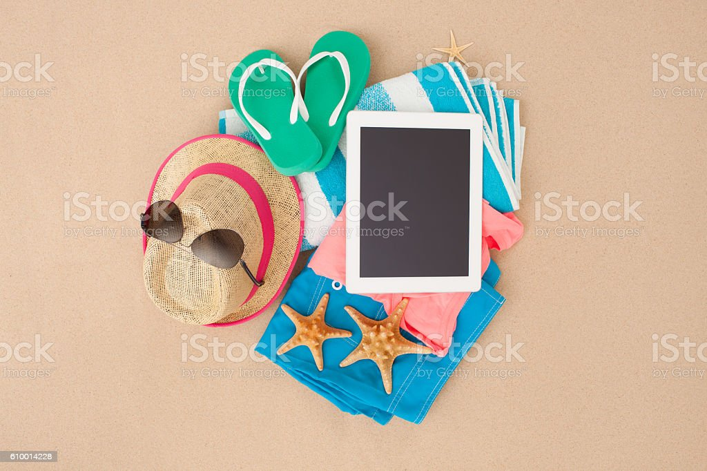 Beach accessories. stock photo