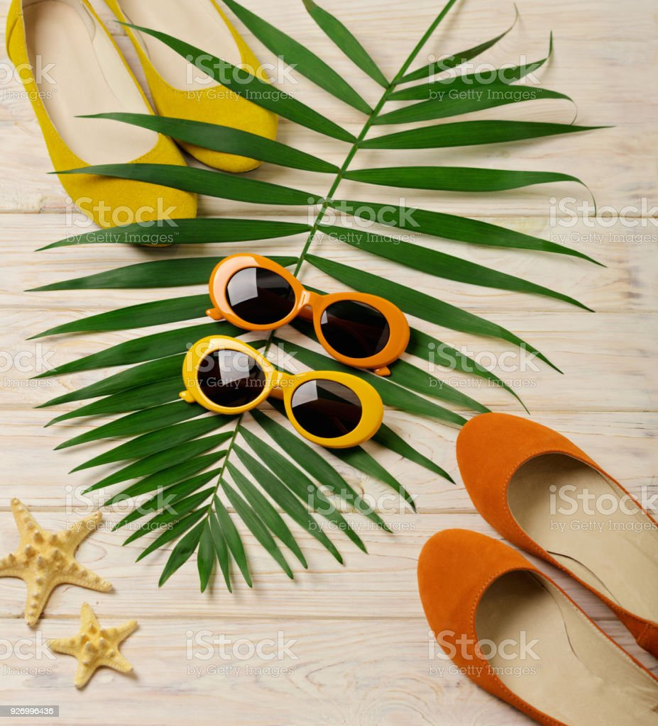 Beach Accessories Sunglasses Hat And Shoes Orange And
