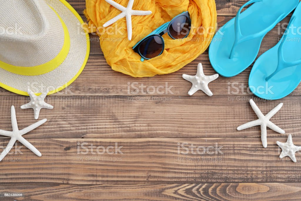 Beach accessories with sea shells royalty-free stock photo