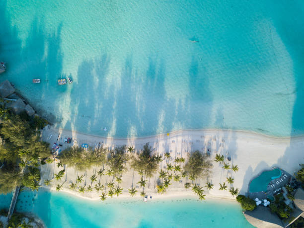 Beach Aerial View, French Polynesia Beach Aerial View, French Polynesia south pacific ocean stock pictures, royalty-free photos & images