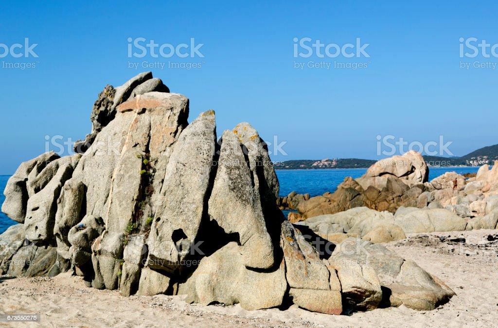 Beach along coast of Olmeto, near Propriano, Southern Corsica royalty-free stock photo