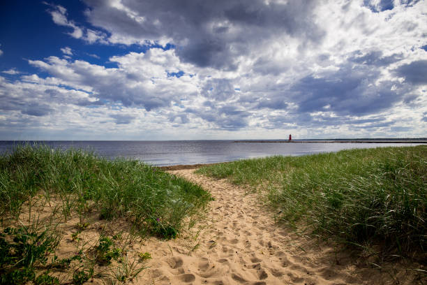 Beach along the Great Lakes stock photo