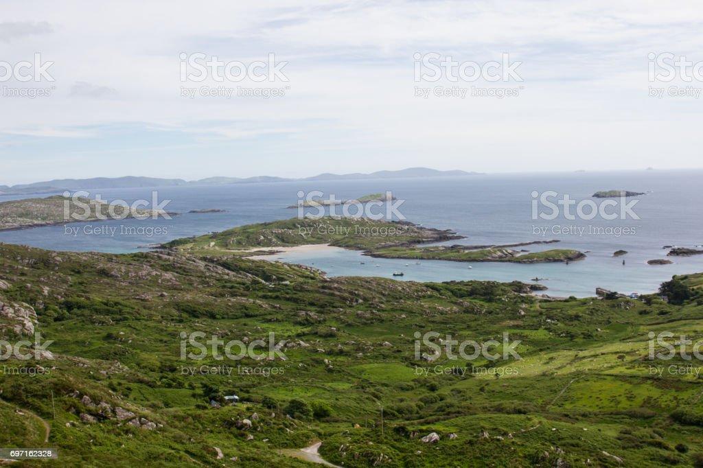 A Beach and a Harbor stock photo
