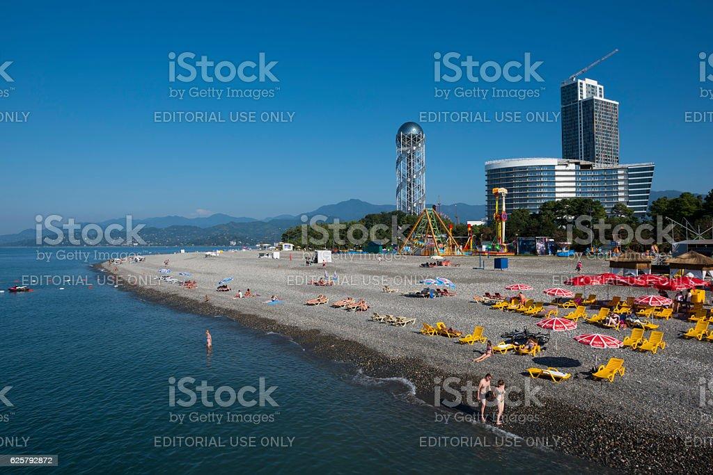 Beach and Alphabetic Tower in Batumi, Georgia stock photo