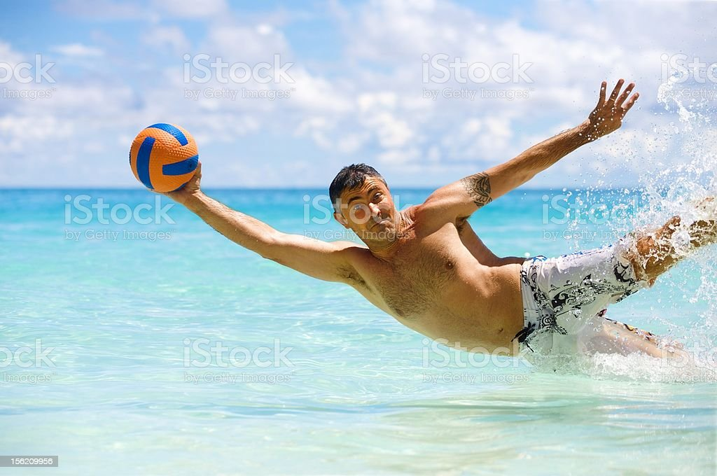 Beach and ball royalty-free stock photo