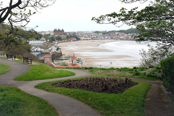 Beach and bay at low tide, Scarborough, Yorkshire, UK. stock photo
