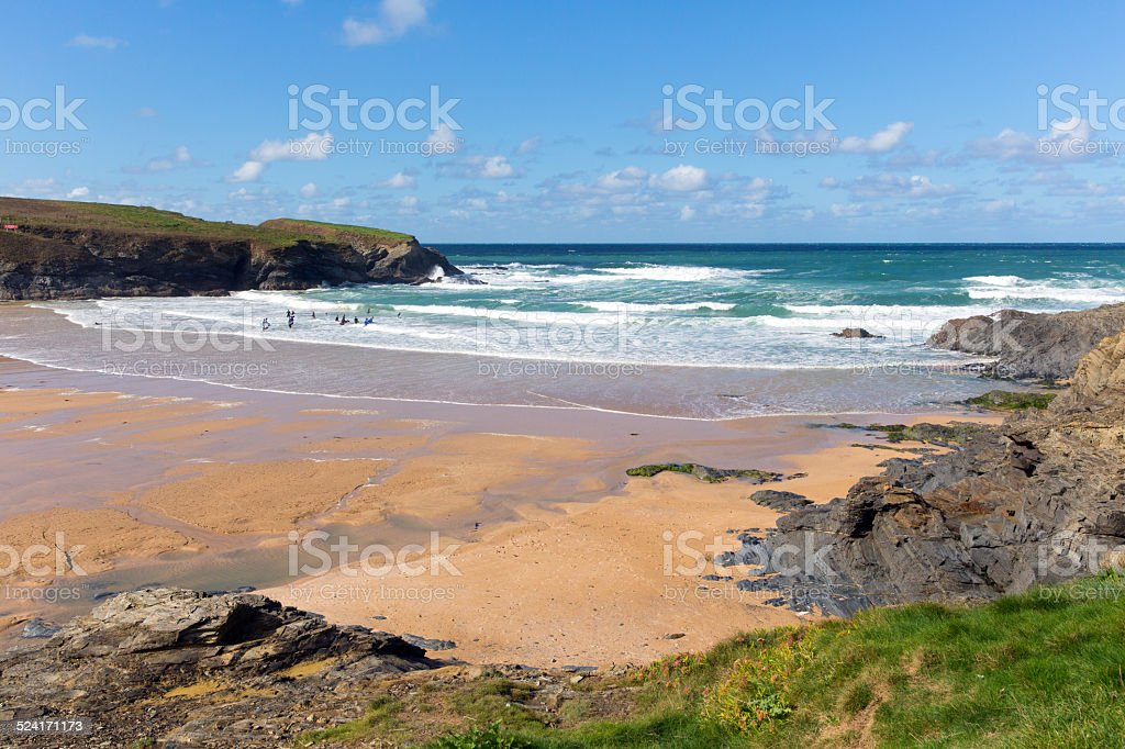 Beach and bay Treyarnon Cornwall England UK Cornish north coast stock photo