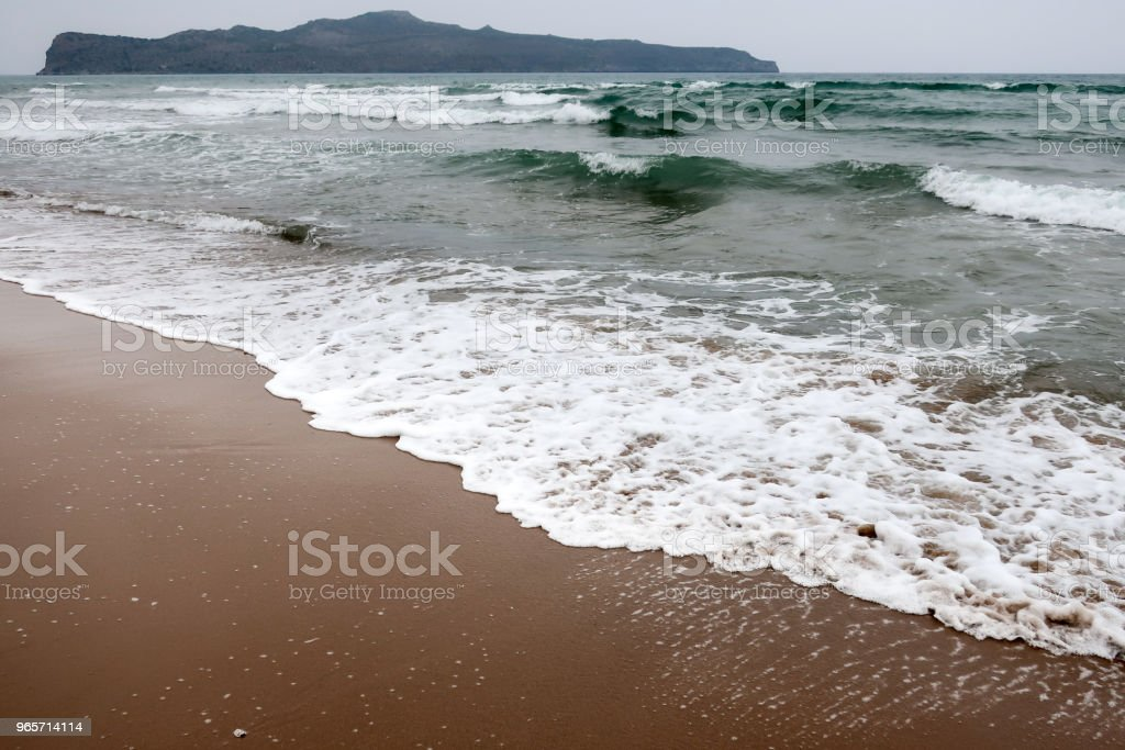 A beach and big waves in the sea - Royalty-free Beach Stock Photo