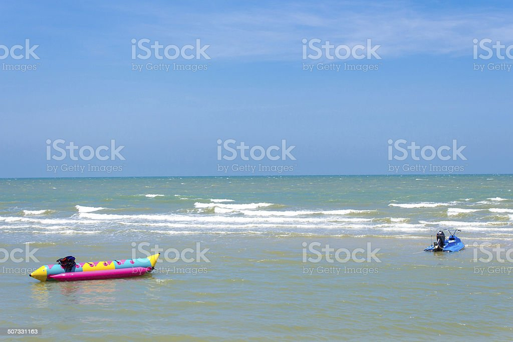 Beach and Boat stock photo