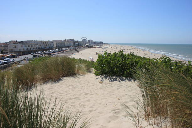 beach and city of Berck at the atlantic coast in France. stock photo