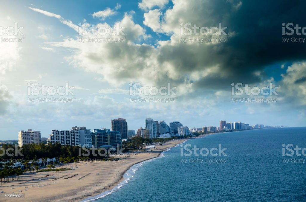 Beach and city of Fort Lauderdale stock photo