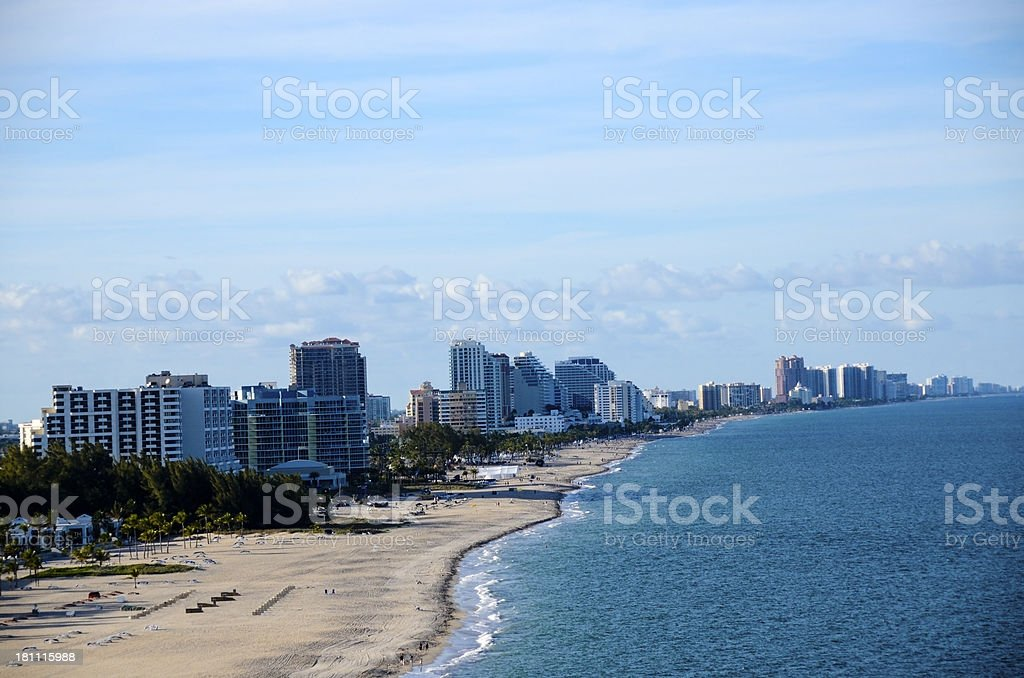 Beach and Cityscape of Fort Lauderdale, Florida stock photo