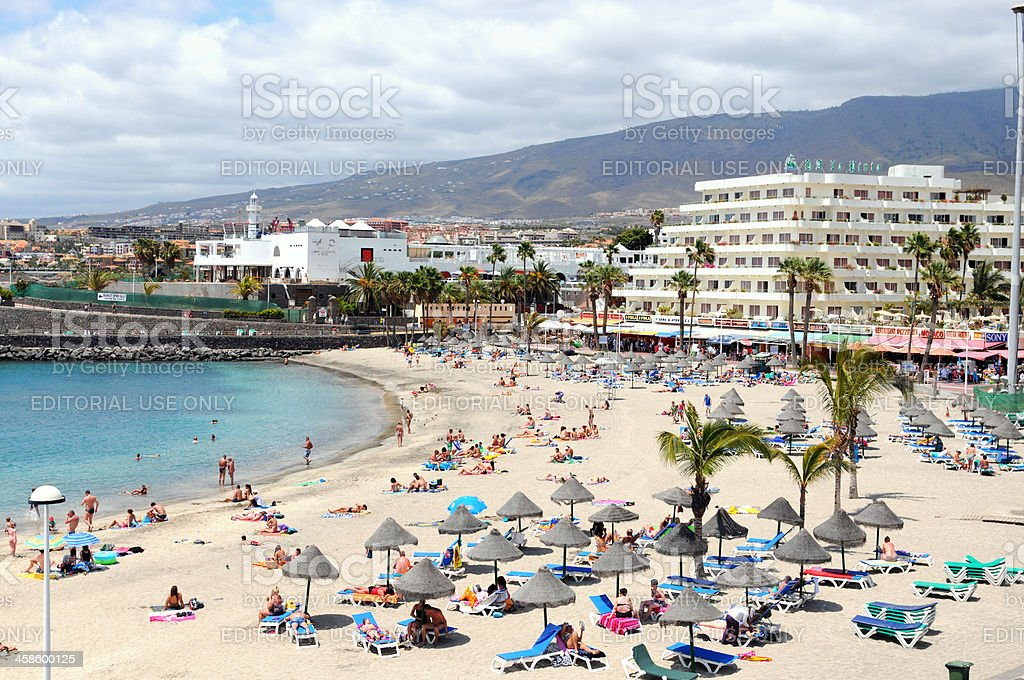 Beach and Cityscape of Playa de las Americas Tenerife (Spain) royalty-free stock photo