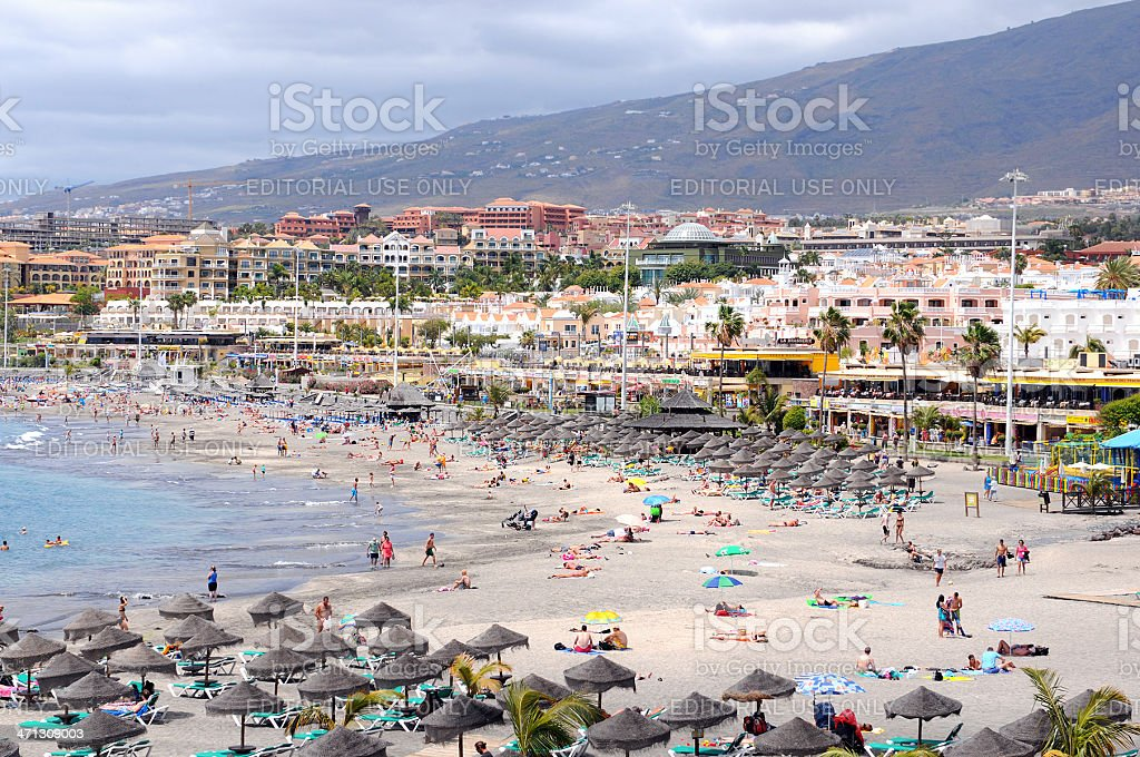 Beach And Cityscape Of Playa De Las Americas Tenerife Stock