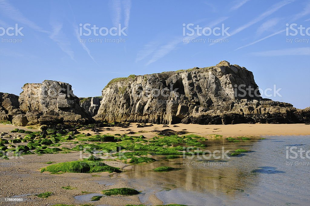 Beach and cliff at Quiberon in France stock photo