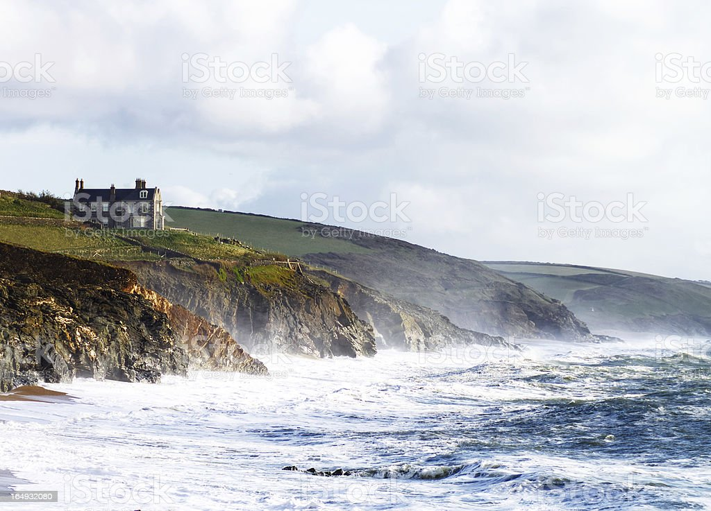 Beach And Cliffs At Porthleven Cornwall UK stock photo