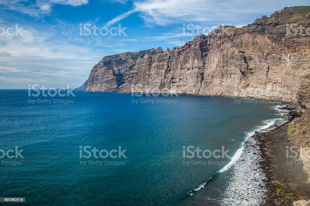 Beach and cliffs at the Los Gigantes stock photo