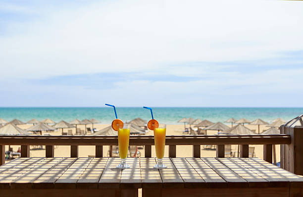 beach and cocktail stock photo
