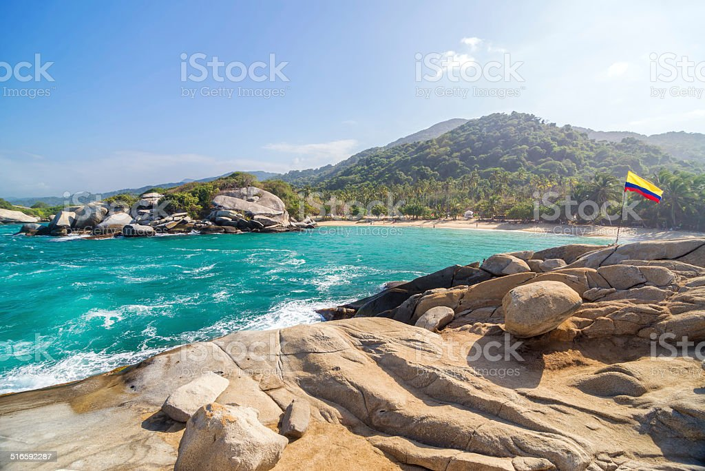Beach and Colombian Flag stock photo