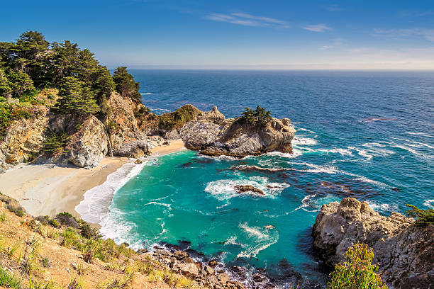 beach and falls, julia pfeiffer beach, mcway falls, california - central coast california stock photos and pictures