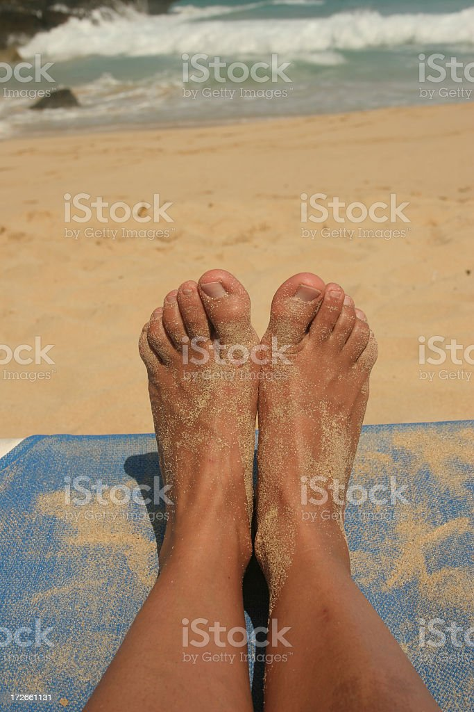 Beach and feet royalty-free stock photo