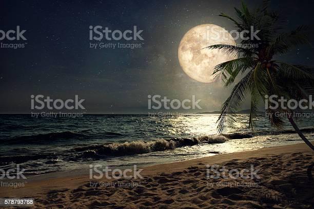 Photo of beach and full moon