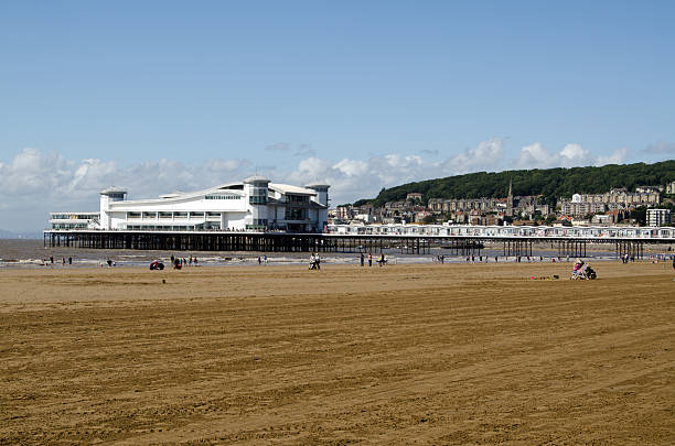 Beach and Grand Pier, Weston-Super-Mare stock photo