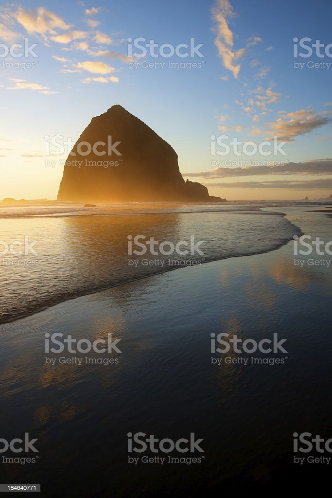 Beach and Haystack Rock, Oregon Coast Sunset stock photo