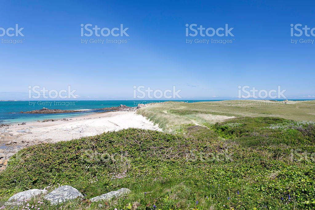 Beach and landscape on the channel island of Herm, UK stock photo