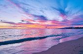 Romance beach and ocean in dramatic sky at sunset, Hawaii, USA.