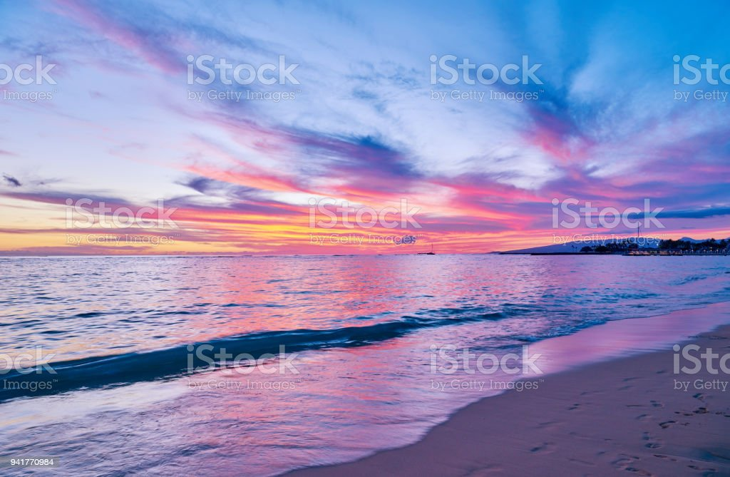 Beach and Ocean at Sunset, Hawaii stock photo