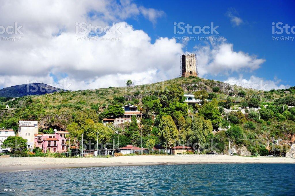 Beach and port of Marina di Camerota, Italy stock photo