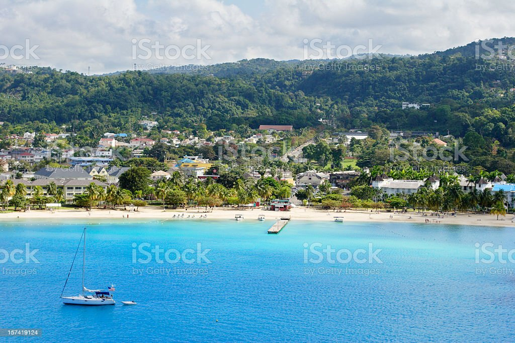 Beach and rainforest at Ocho Rios Jamaica stock photo