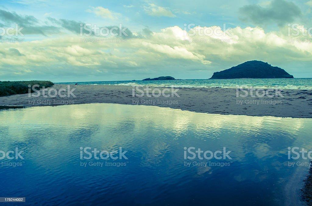 beach and sandbar with distant islands royalty-free stock photo