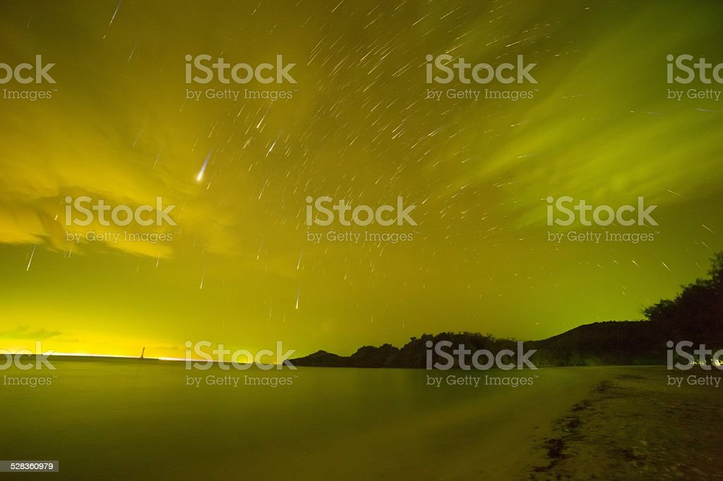 beach and sea at night with Star Trail