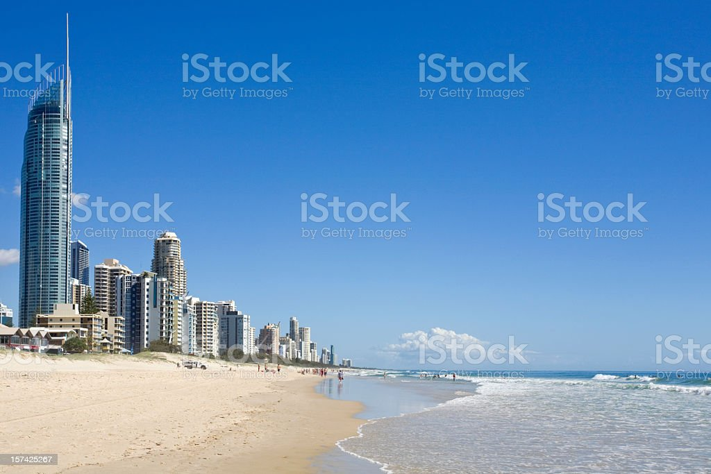Beach and sea at the Gold Coast in Australia stock photo