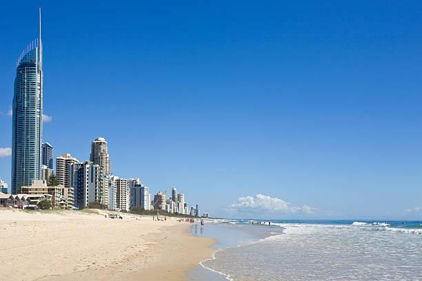 Beach and sea at the Gold Coast in Australia stock photo