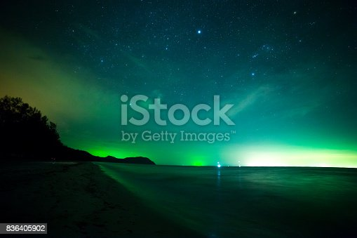 istock beach and sea in night sky with stars 836405902