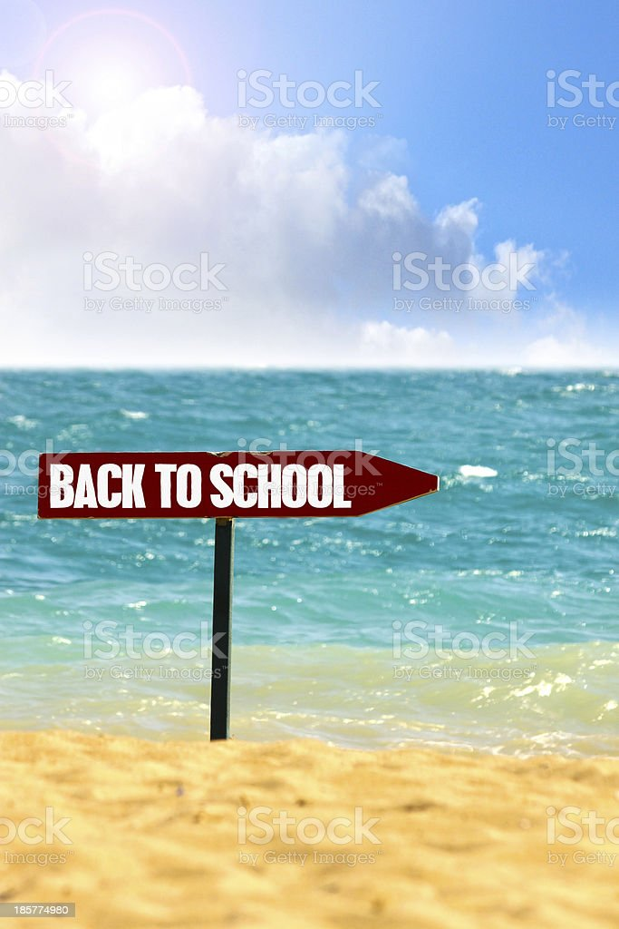 Beach and shoreline with back to school sign stock photo