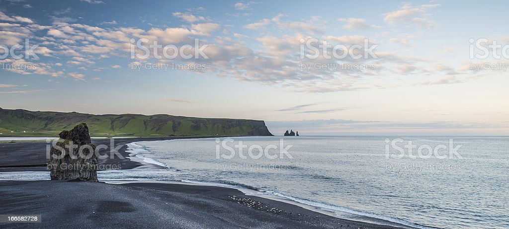 Beach and Stacks at Dyrholaey, Iceland royalty-free stock photo