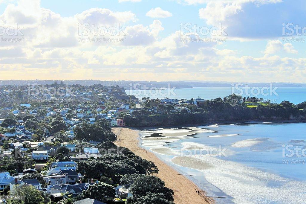 Beach and surrounding suburbs stock photo