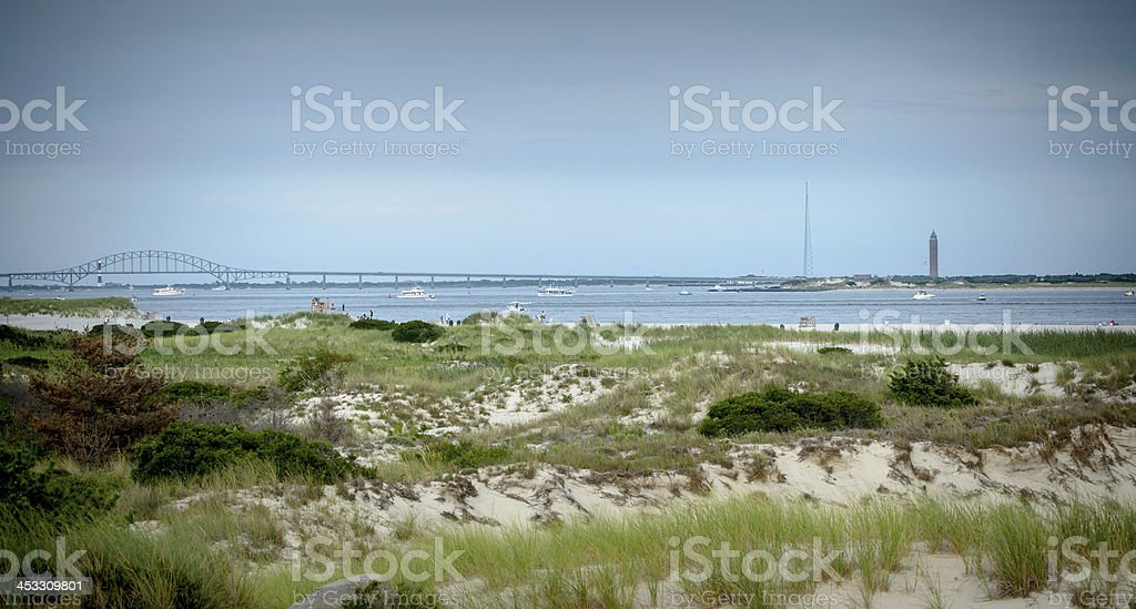 Beach and the Bridge to Fire Island, stock photo