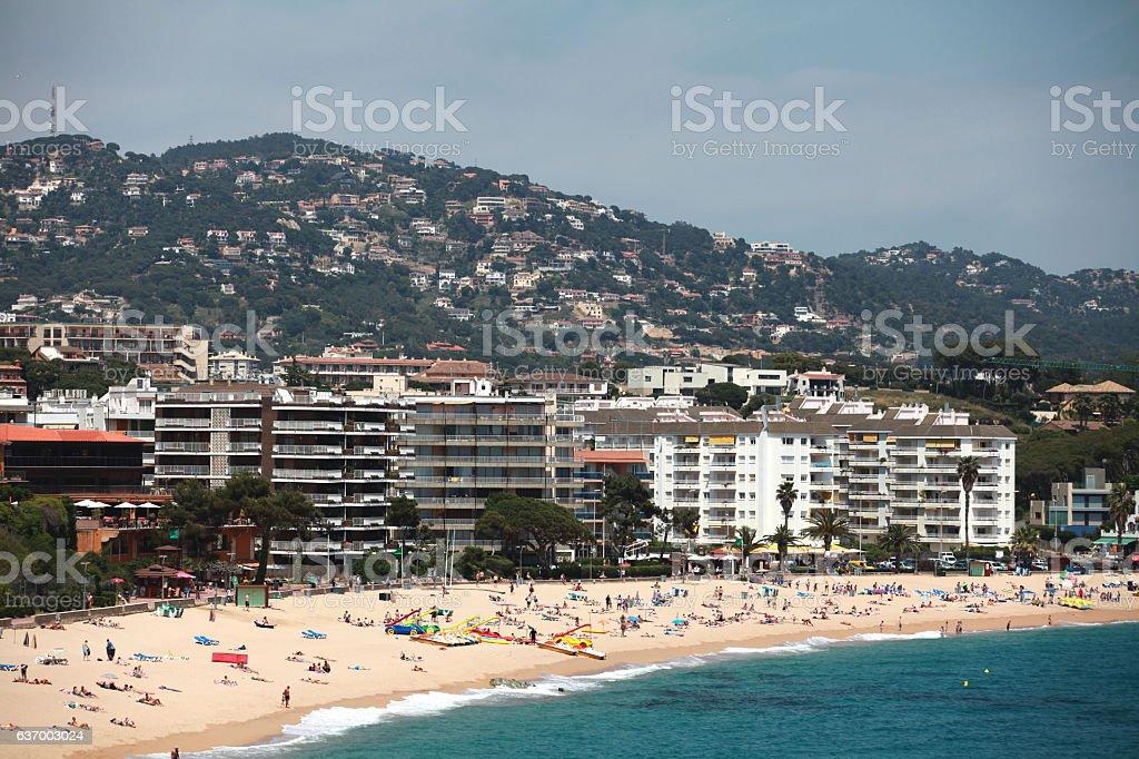 beach and the hotel's beach resort stock photo