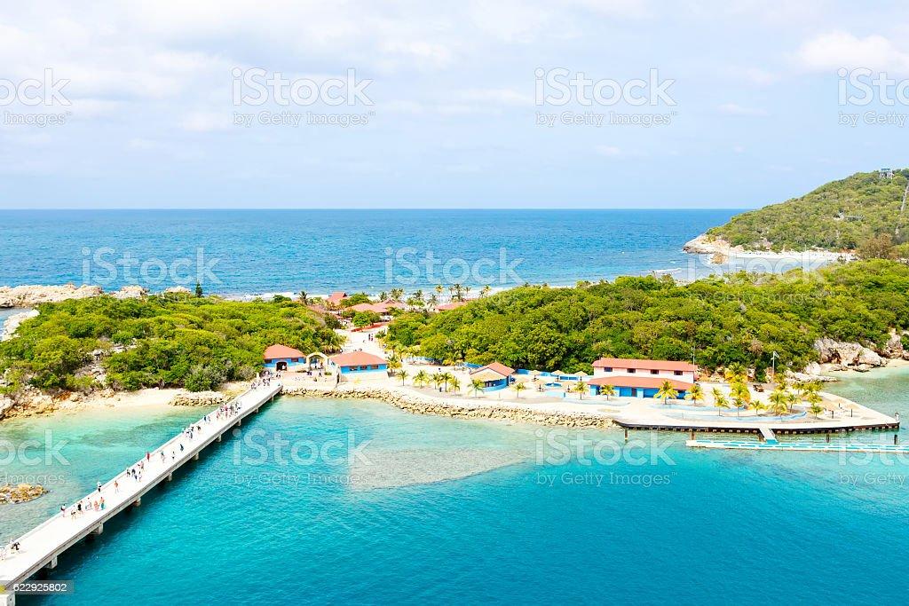 Beach and tropical resort, Labadee island, Haiti. stock photo