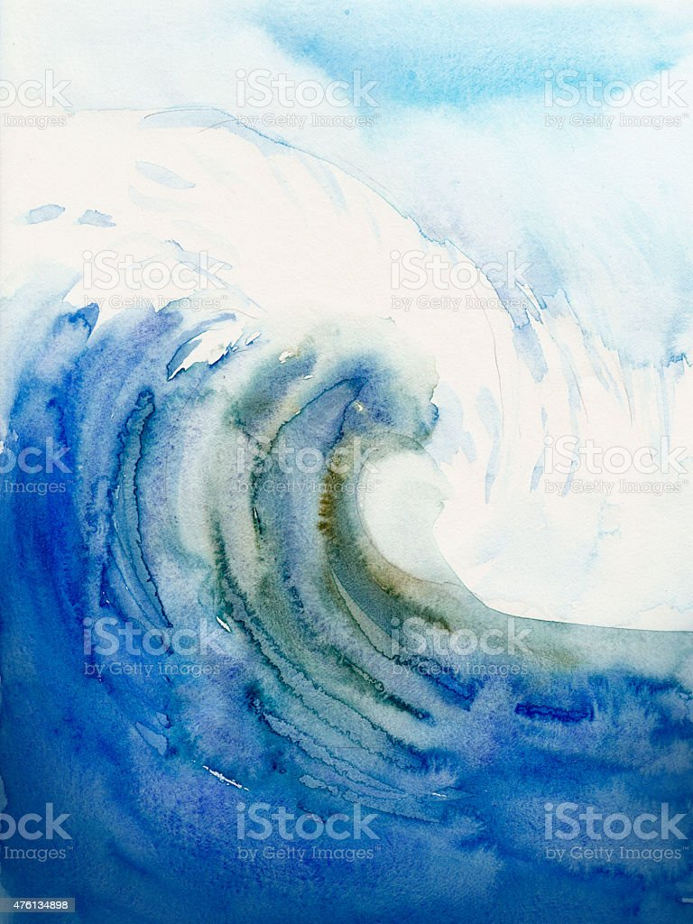 beach and tropical sea watercolors painting stock photo
