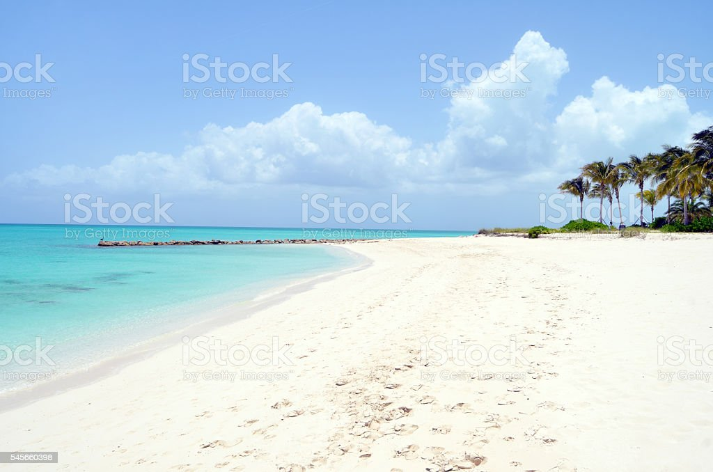 Beach and Turquoise Waters in the Turks and Caicos Islands. stock photo
