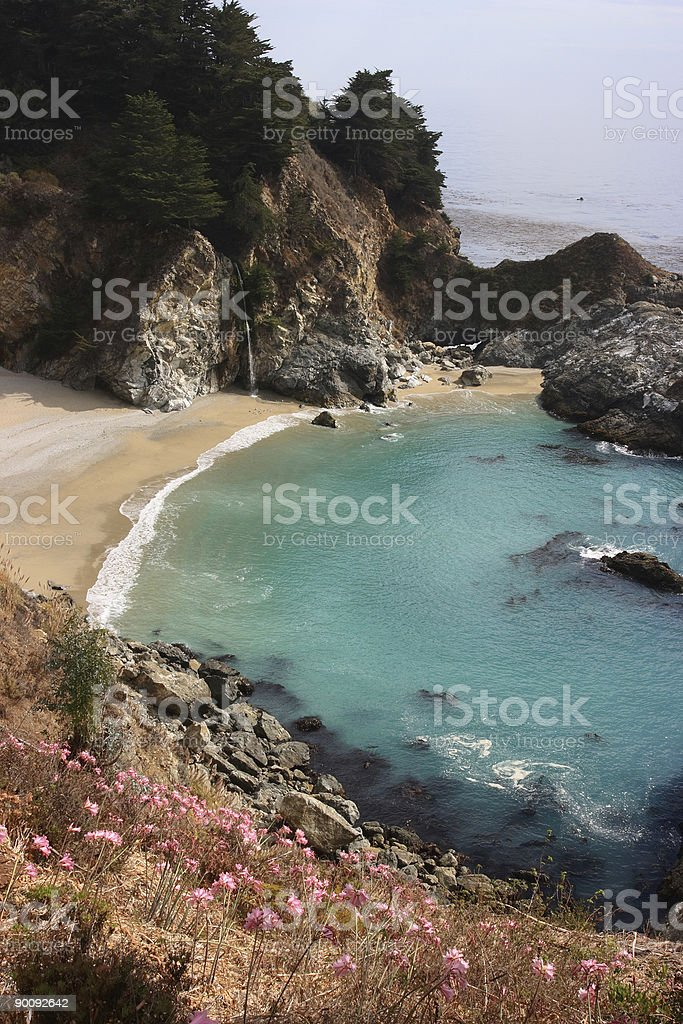 Beach and waterfall in Big Sur royalty-free stock photo