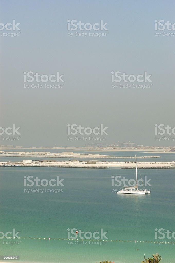 Beach and yacht of luxury hotel, Dubai, UAE royalty-free stock photo