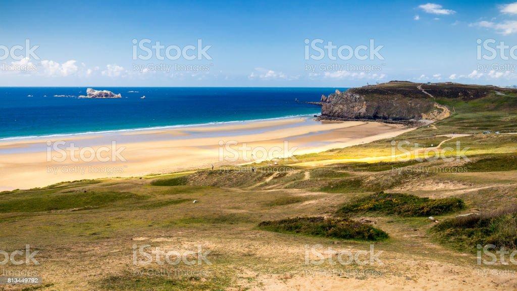 Beach Anse de Pen-Hat on the Presqu'ile de Crozon, Parc naturel regional d'Armorique. Finistere department, Crozon. Brittany (Bretagne), France. stock photo